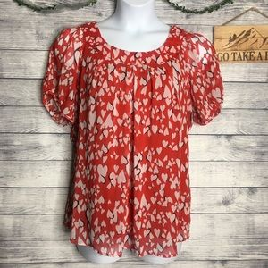 Dress Barn Heart Print Short Sleeve Blouse Size 1X